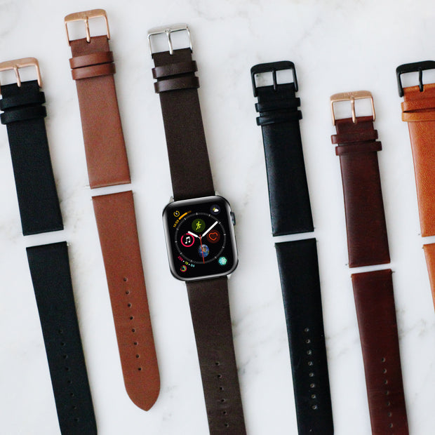 Black Vegetable Tanned - 38mm, 40mm, 42mm, 44mm