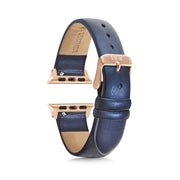 Dark Blue Shimmer Strap / Rose Gold Buckle - 38mm, 40mm