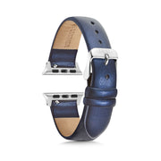 Dark Blue Shimmer Strap / Silver Buckle - 38mm, 40mm