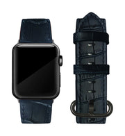 Navy Blue Alligator Print Strap / Black Buckle - 38mm, 40mm, 42mm, 44mm