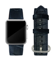 Navy Blue Alligator Print Strap / Silver Buckle - 38mm, 40mm, 42mm, 44mm