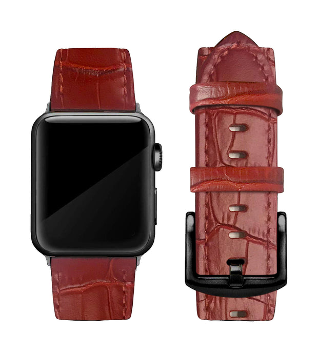 Red Alligator Print Strap / Black Buckle - 38mm, 40mm, 42mm, 44mm