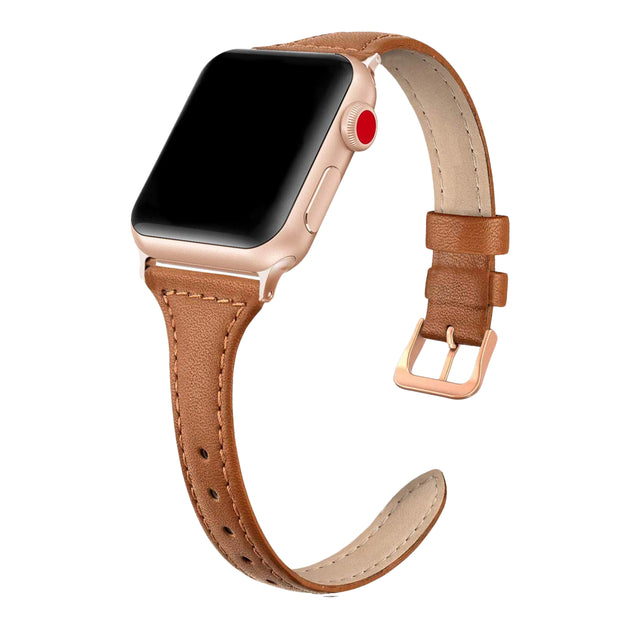 Tan Slim Strap / Rose Gold Buckle - 38mm, 40mm, 42mm, 44mm