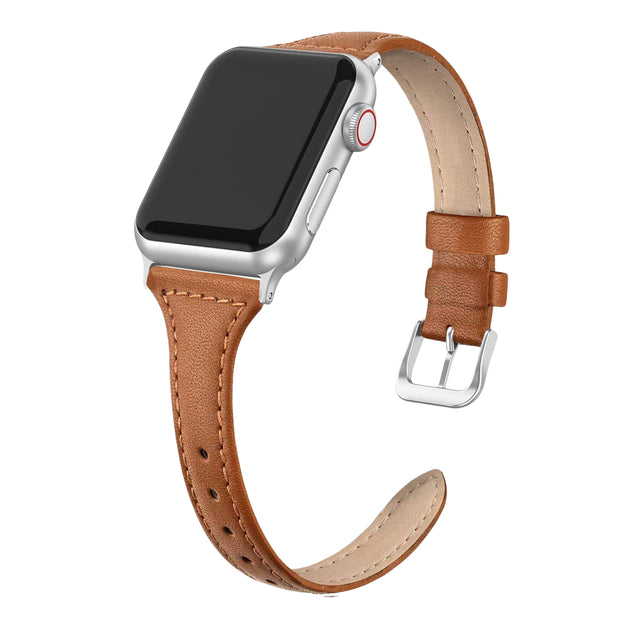 Tan Slim Strap / Silver Buckle - 38mm, 40mm, 42mm, 44mm