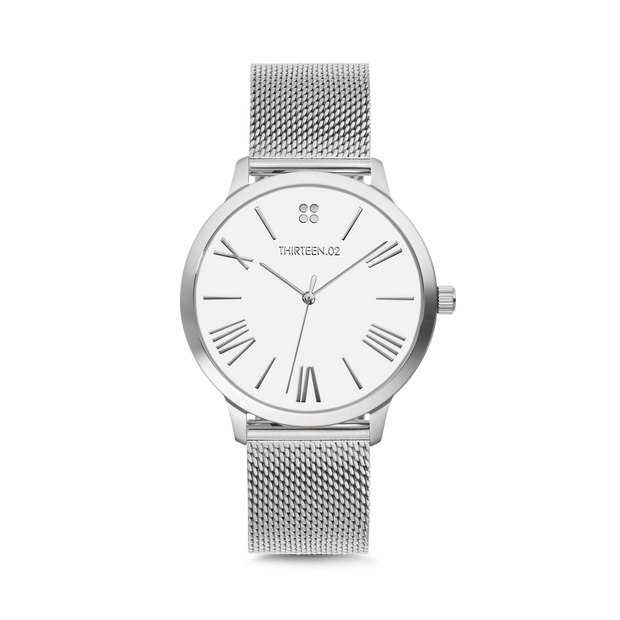 Silver Case / White Dial with Roman Numerals