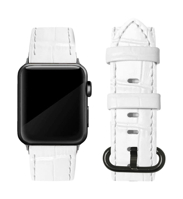White Alligator Print Strap / Black Buckle - 38mm, 40mm
