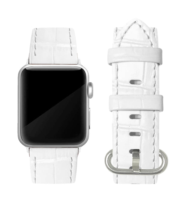 White Alligator Print Strap / Silver Buckle - 38mm, 40mm
