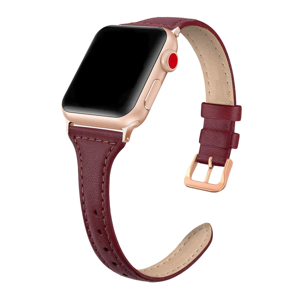 Wine Red Slim Strap / Rose Gold Buckle - 38mm, 40mm