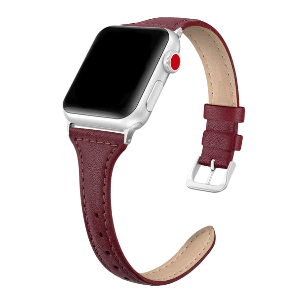 Wine Red Slim Strap / Silver Buckle - 38mm, 40mm