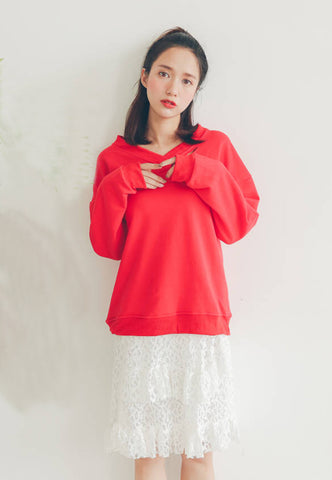 Slipt Collar Sweatshirt