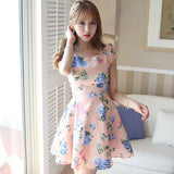 <3 SIZES> CHECKED FLORAL FLARE DRESS - 102A9287