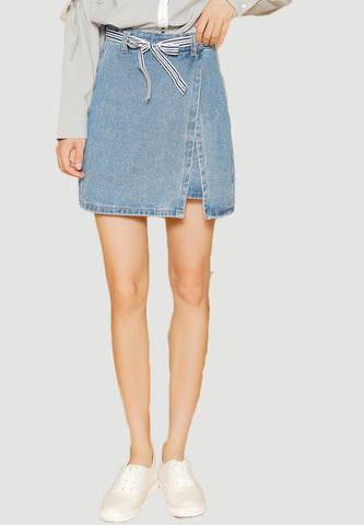 Faux Wrapped Denim Skirt