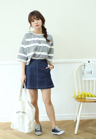 Iris Denim Skirt in Dark Blue