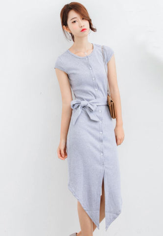 Bodycon Midi Dress in Grey