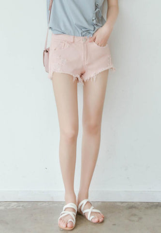 Light Jeans Shorts in Baby Pink