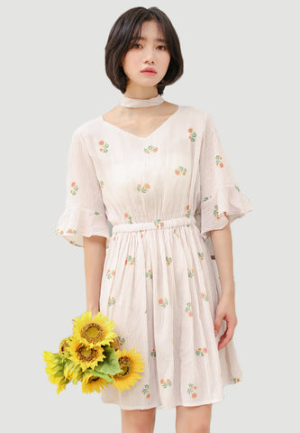 Sun Flower Printed Choker Dress