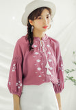 Embroidery 3/4 Sleeve Blouse purple