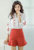 Embroidery 3/4 Sleeve Blouse white