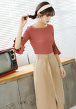 Knitted Flare Sleeve Blouse in Brown