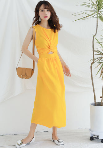 Cutt Off Twisted Maxi in Yellow