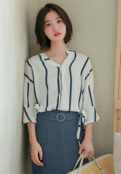 Flare Sleeve Blouse in Blue Strip