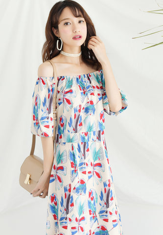 Off Shoulder Floral Printed Midi Dress