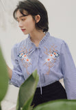 Embroidery Blouse in Blue Strip
