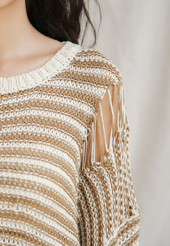 Split Sleeve Pullover in Beige Strip