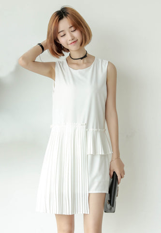 Pleated Shift Dress White 2016A1794