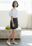 Ruffles Shoulder Blouse White
