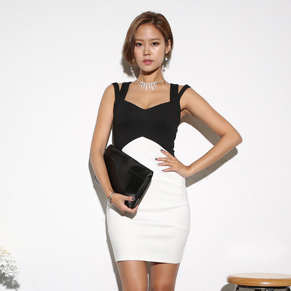 104a0229 - Narciso B&W ColorBlock Dress