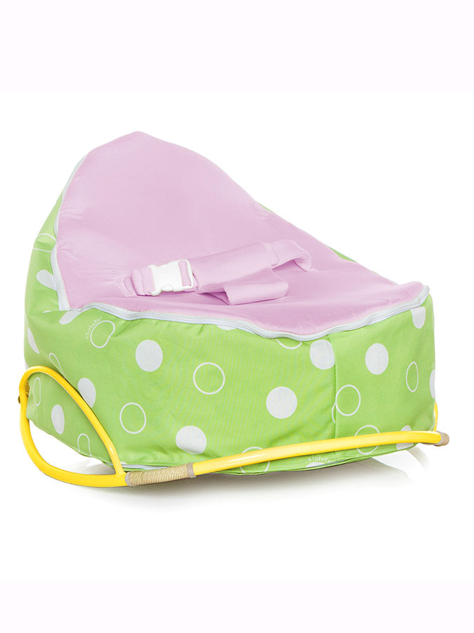lemon pod rocker with snuggle pod baby bean bag and purple seat top