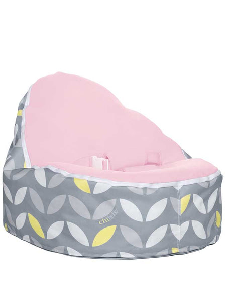 baby beanbag snuggle pod in bloom design with blue seat by chibebe