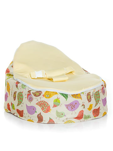 Chirpy design Snuggle Pod baby bean bag by Chibebe. With cream seat