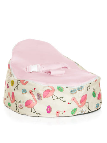 Flamingo snuggle pod baby bean bag design with pink seat