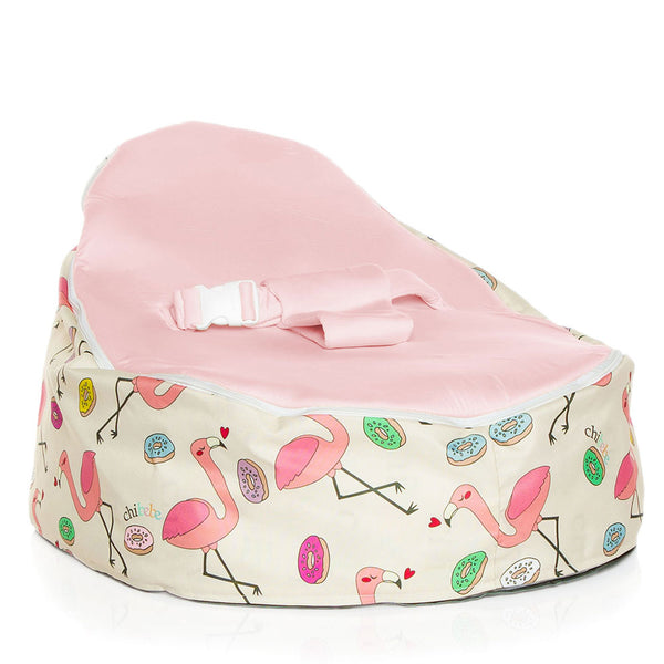 Flamingo Baby Bean Bag Snuggle Pod by Chibebe with pink seat