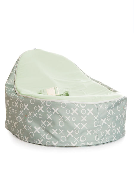 Hugs and Kisses baby bean bag by Chibebe Snuggle Pod with Blue seat