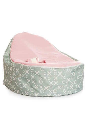 Hugs and Kisses baby bean bag by Chibebe. With swappable pink seat.