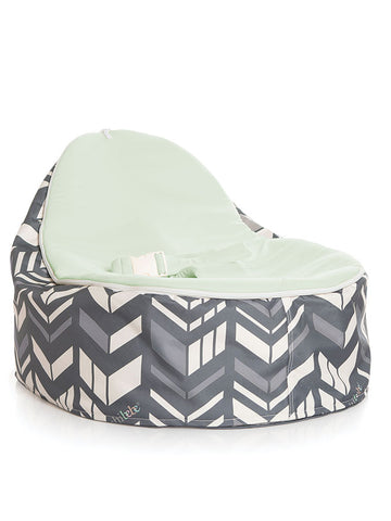 Chibebe Snuggle Pod baby bean bag in Chevron design with Lime seat top