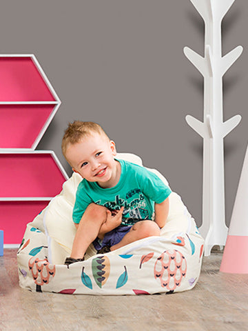 Toddler on Woodlands Snuggle Pod baby bean bag with Swappable Cream Seat