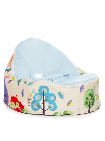 Moxie Foxie Snuggle Pod baby bean bag with swappable blue seat cover by Chibebe