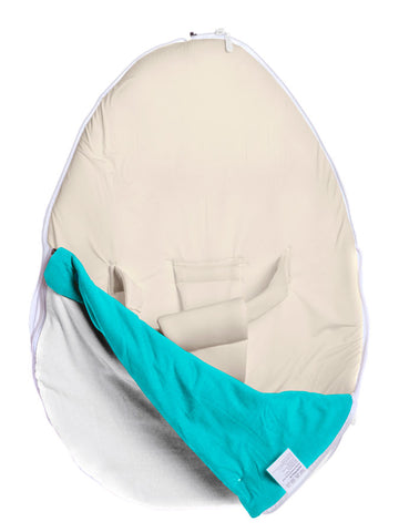 Pod Warmer blanket in Turquoise and White color, opened. For the Chibebe baby bean bag.