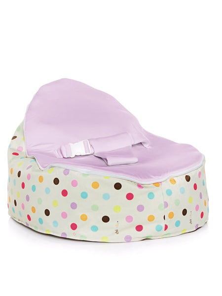 Sprinkles design Snuggle Pod baby beanbag by Chibebe with swappable Blue seat