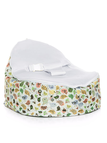 Teeny Birds design Snuggle Pod Baby Bean Bag by Chibebe with Blue swappable seat.