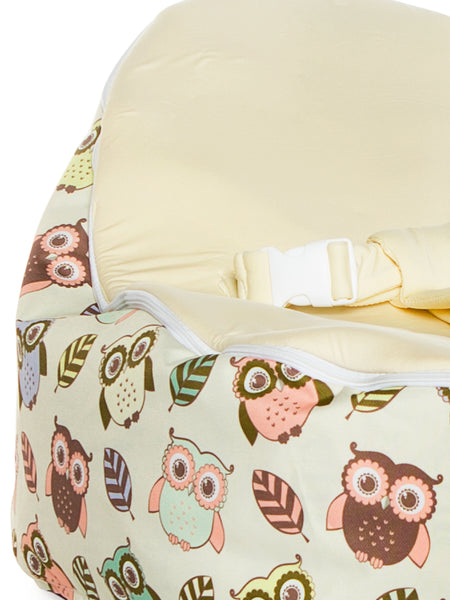 Snuggle Pod baby bean bag in Hoot design with owls print and blue seat