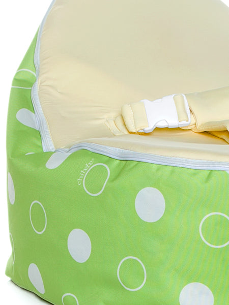 Green Polka snuggle pod baby bean bag with blue seat