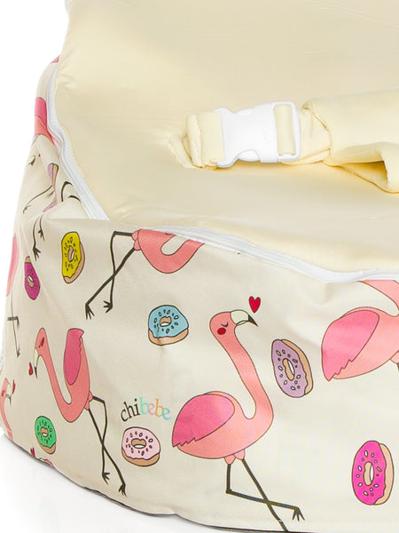 snuggle pod baby bean bag Flamingo heart donuts with blue seat