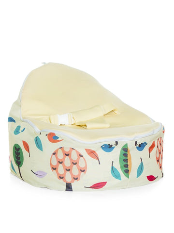 Woodlands design Snuggle Pod Baby Bean Bag with swappable Cream seat by Chibebe.