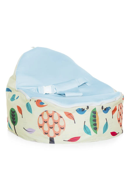 Woodlands design Snuggle Pod Baby Bean Bag with swappable Blue seat by Chibebe.