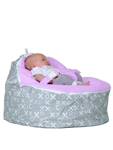 baby resting on hugs and kisses baby bean bag by chibebe snuggle pod